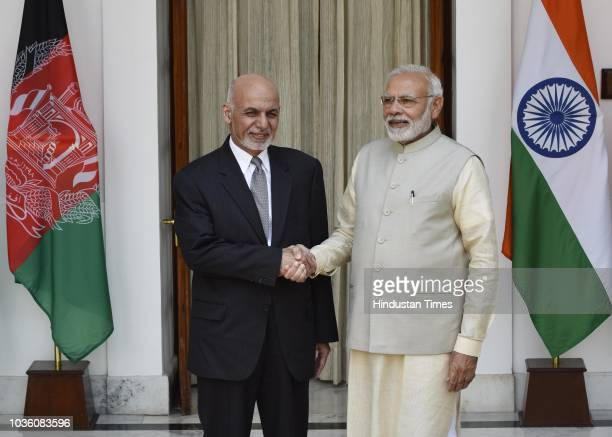 Prime Minister Narendra Modi and Afghanistan President Ashraf Ghani ahead of a meeting at Hyderabad House, on September 19, 2018 in New Delhi, India....