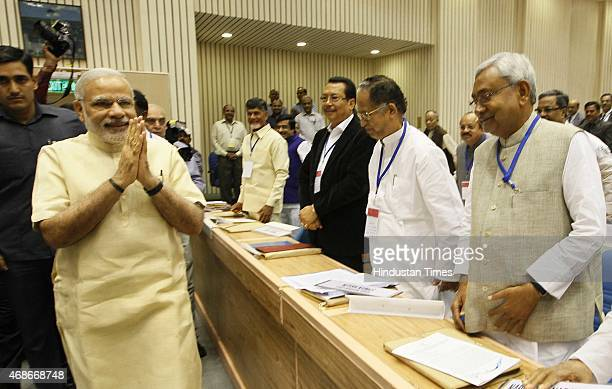 Prime Minister Narendra Modi and Chief Minister of Bihar Nitish Kumar during the joint conference of the Chief Ministers and the Chief Justices of...