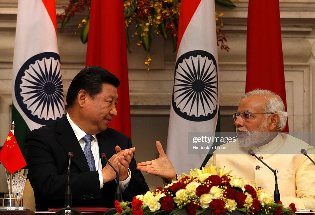 Indian Prime Minister Narendra Modi And Chinese President Xi Jinping At Agreement Signing Ceremony : News Photo