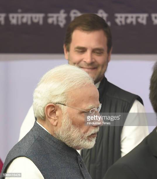 Prime Minister Narendra Modi and Congress president Rahul Gandhi seen during a event to pay tribute to BR Ambedkar on his 62nd death anniversary at...
