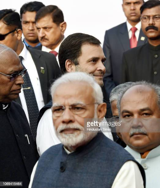 Prime Minister Narendra Modi and Congress president Rahul Gandhi seen before paying tribute to BR Ambedkar on his 62nd death anniversary at...