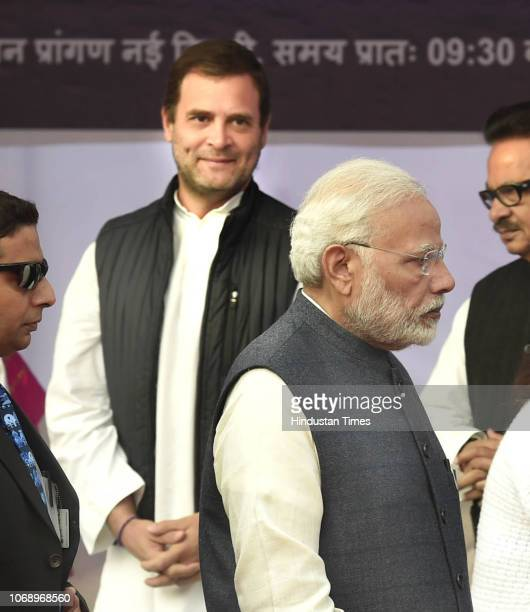 Prime Minister Narendra Modi and Congress president Rahul Gandhi arrive to pay tribute to Dr BR Ambedkar on his 62nd Mahaparinirvan Diwas at...