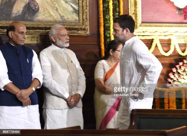 Prime Minister Narendra Modi and Congress Vice President Rahul Gandhi during a floral tribute ceremony on the portrait of Sardar Vallabhbhai Patel on...