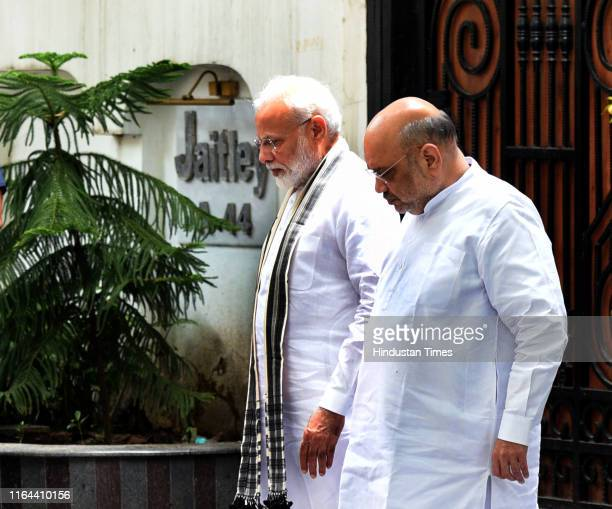 Prime Minister Narendra Modi and Home Minister Amit Shah after paying their condolence to the family members of former finance minister late Arun...