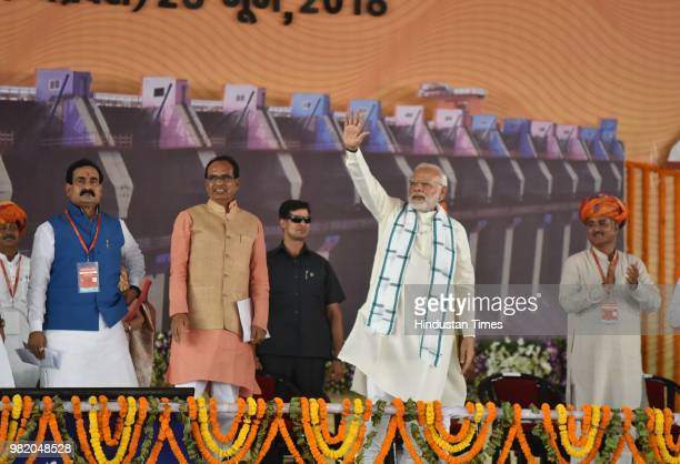Prime Minister Narendra Modi and Madhya Pradesh chief minister Shivraj Singh Chouhan during an inauguration ceremony of Mohanpura dam project in...