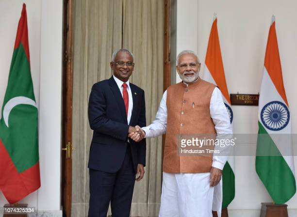 Prime Minister Narendra Modi and Maldivian President Ibrahim Mohamed Solih before a meeting at Hyderabad House on December 17 2018 in New Delhi India...