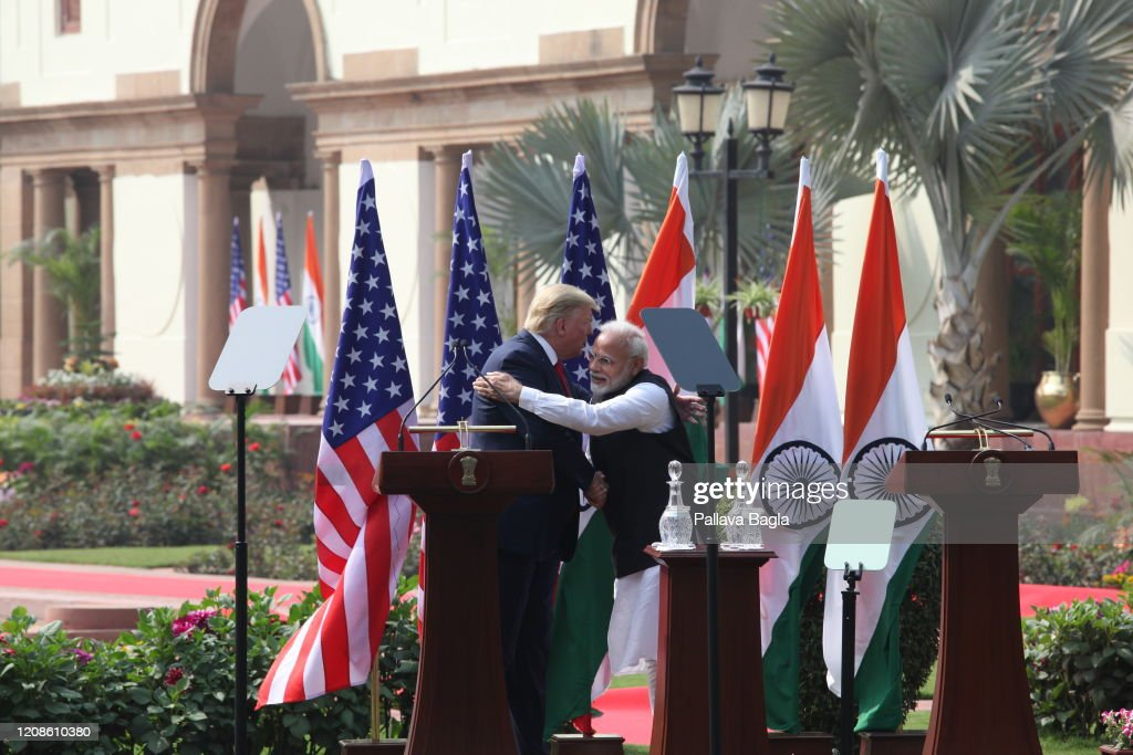 India and America summit meeting between Mr Donald Trump, President of USA and Prime Minister of India Mr. Narendra Modi : News Photo