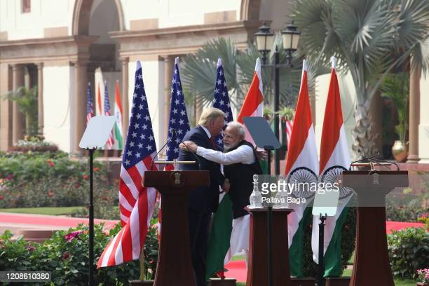 Prime Minister Narendra Modi and President Donald Trump hug each other in what is now called hugoplacy India and United States of America Summit...