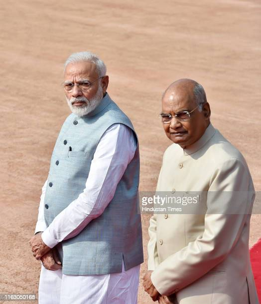 Prime Minister Narendra Modi and President Ram Nath Kovind arrive for the Ceremonial Reception of Zambian President Edgar Chagwa Lungu, at...