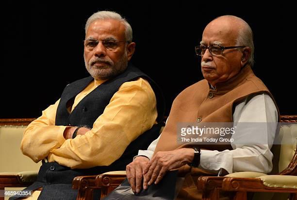 Prime Minister Narendra Modi and senior BJP leader L K Advani during the BJP Parliamentary board meeting