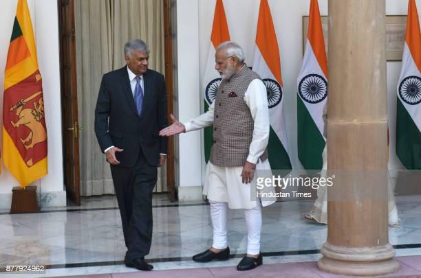 Prime Minister Narendra Modi and Sri Lankan PM Ranil Wickremesinghe at Hyderabad House on November 23 2017 in New Delhi India
