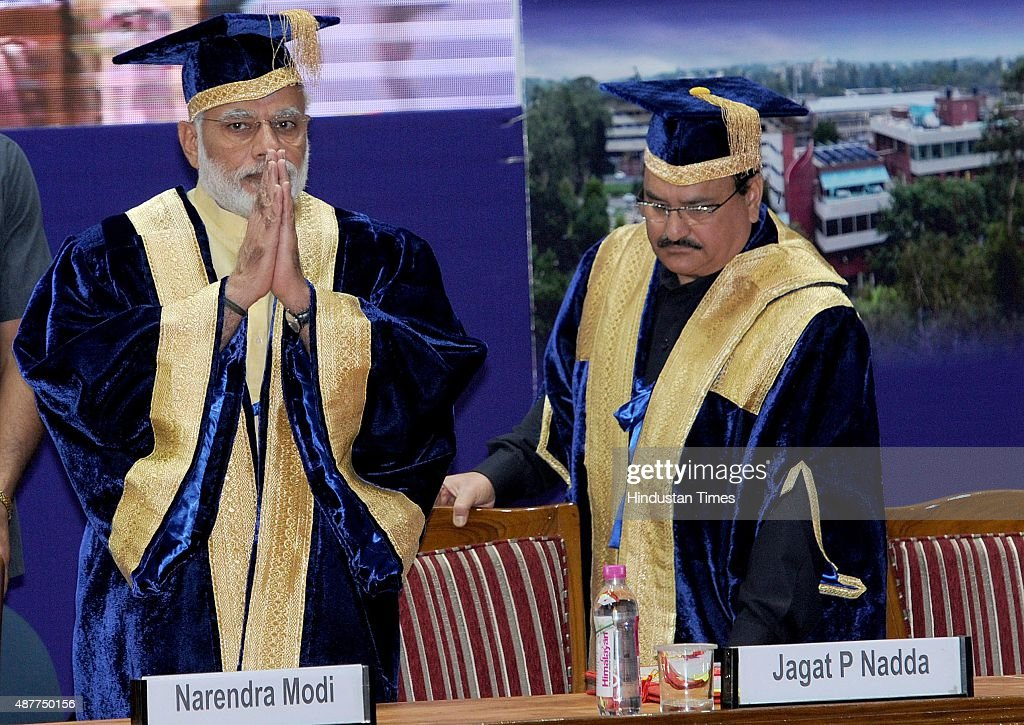 Prime Minister Narendra Modi and Union Health Minister JP Nadda during the 34th convocation of the PostGraduate Institute of Medical Education and...