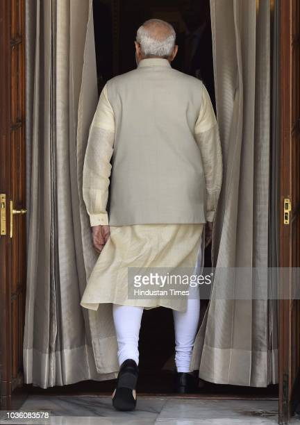 Prime Minister Narendra Modi and Afghanistan President Ashraf Ghani ahead of a meeting at Hyderabad House on September 19 2018 in New Delhi India...
