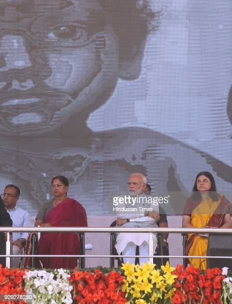 Prime Minister Narendra Modi at a public rally at the launch of National Nutrition Mission on March 8 2018 in Jhunjhunu India Prime Minister Narendra...