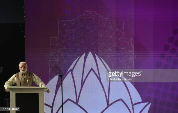 Prime Minister Narendra Modi at the inauguration of GCCS 2017 at Aerocity on November 23 2017 in New Delhi India