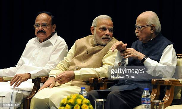 Prime Minister Narendra Modi BJP leader LK Advani and Union Minister of Urban Development and Parliamentary Affairs Venkiah Naidu preside over the...