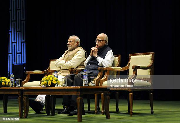 Prime Minister Narendra Modi BJP leader LK Advani preside over the BJP parliamentary board meeting at Parliament House on March 17 2015 in New Delhi...