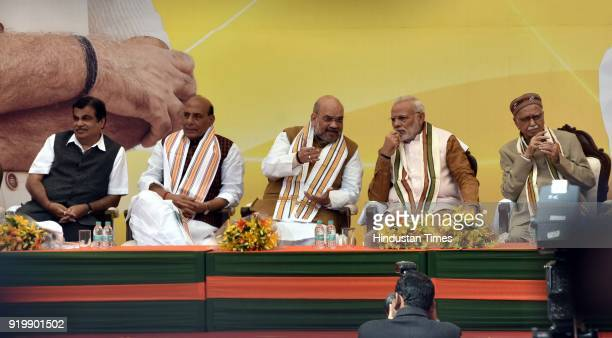 Prime Minister Narendra Modi BJP National President Amit Shah Senior BJP Leader LK Advani Union Home Minister Rajnath Singh Minister of Road...