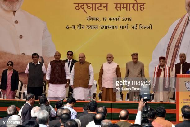 Prime Minister Narendra Modi BJP National President Amit Shah Senior BJP Leader LK Advani Union Home Minister Rajnath Singh Minister of External...