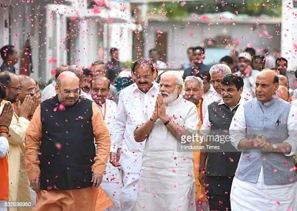 Prime Minister Narendra Modi BJP National President Amit Shah Union Home Minister Rajnath Singh Union Minister Nitin Gadkari with other BJP ministers...