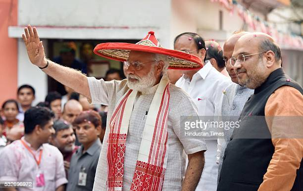 Prime Minister Narendra Modi BJP National President Amit Shah with other BJP ministers and activists celebrate after winning five states assembly...