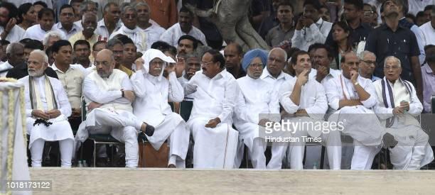 Prime Minister Narendra Modi BJP President Amit Shah and LK Advani Vice president M Venkaiah Naidu Congress leader Manmohan singh Rahul Gandhi Home...