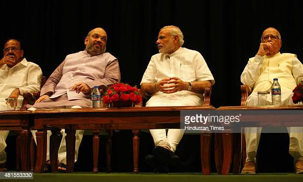 Prime Minister Narendra Modi BJP President Amit Shah Senior BJP leader LK Advani and Union minister for Urban Development and Parliamentary Affairs...