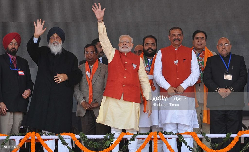 Prime Minister Narendra Modi Chief Minister Parkash Singh Badal and state BJP President and Union Minister Vijay Sampla during a political rally...