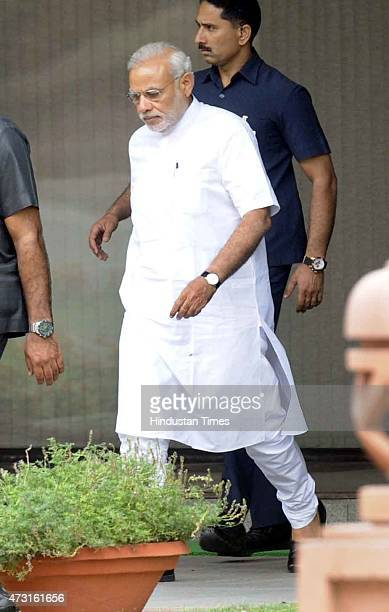 Prime Minister Narendra Modi coming out after cabinet meeting at Parliament on the concluding day of Budget session on May 13 2015 in New Delhi India...
