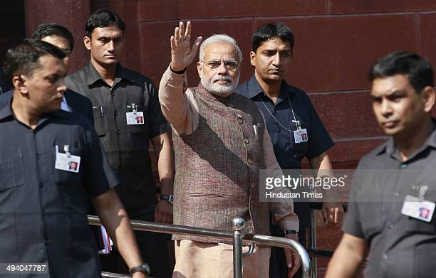 Prime Minister Narendra Modi coming out his PM office at South Block after taking charge on May 27 2014 in New Delhi India Narendra Modi was sworn in...