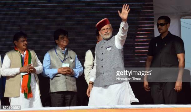 Prime Minister Narendra Modi during a BJP Parivartan Rally at Rait on November 4 2017 in Dharamsala India PM Modi hinted at a crackdown on benami...