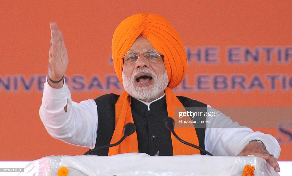 Prime Minister Narendra Modi during a function to mark 350th Birth Anniversary Celebrations of Shri Guru Gobind Singh Ji at Anandpur Sahib Gurudwara..