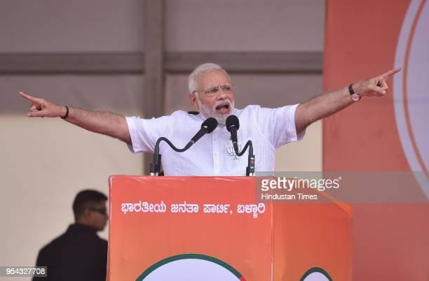 Prime Minister Narendra Modi during a political rally of Bharatiya Janata Party ahead of Karnataka State Assembly election at Bellary stadium on May...