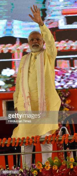 Prime Minister Narendra Modi during a public rally at Rajatalab Kachnar area on July 14 2018 in Varanasi India Modi who is on a twoday tour of Uttar...