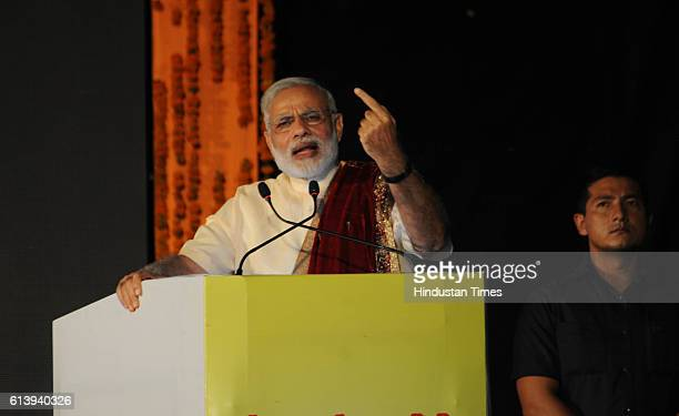 Prime Minister Narendra Modi during an occasion of Dussehra celebrations at Ramleela Ground Aishbagh on October 11 2016 in Lucknow India Modi talked...