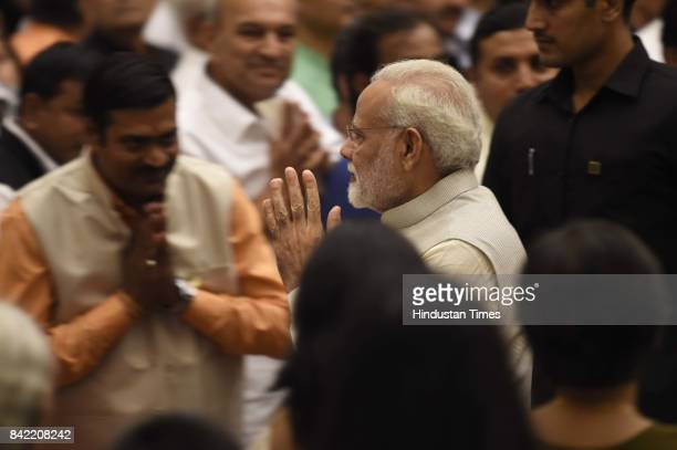 Prime Minister Narendra Modi during cabinet reshuffle ceremony at Rashtrapati Bhavan on September 3 2017 in New Delhi India At least 9 new ministers...