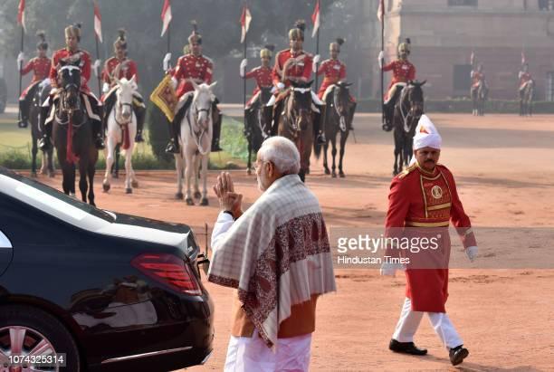 Prime Minister Narendra Modi during Maldivan President Ibrahim Mohamed Solih's ceremonial reception at Rashtrapati Bhawan on December 17 2018 in New...