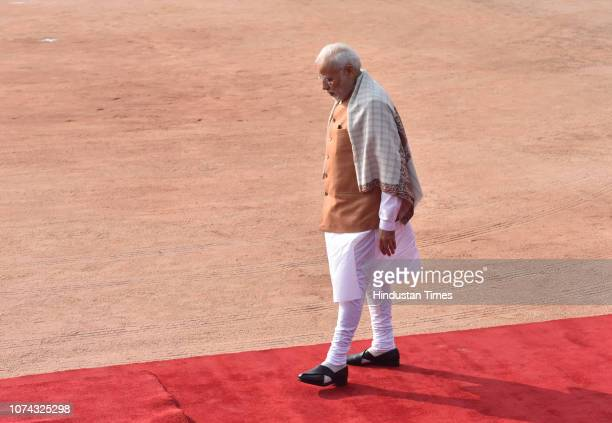Prime Minister Narendra Modi during Maldivian President Ibrahim Mohamed Solih's ceremonial reception at Rashtrapati Bhawan on December 17 2018 in New...