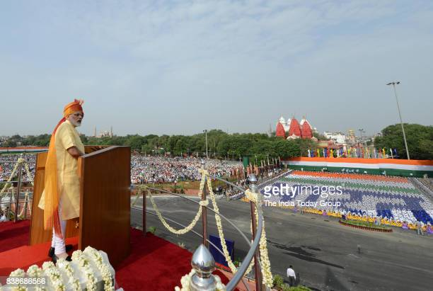 Prime Minister Narendra Modi during the 71st Independence Day Celebrations in New Delhi