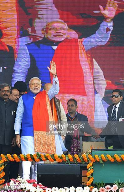 Prime Minister Narendra Modi during the 'Abhinandan rally' at Ramlila Maidan on January 10 2015 in New Delhi India Modi appeals the people to vote...