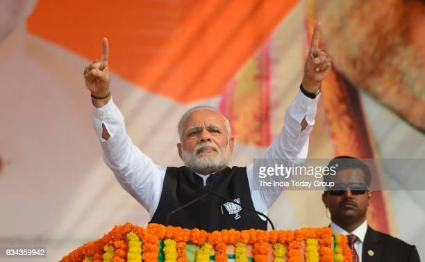 Prime Minister Narendra Modi during the BJP's Parivartan Sankalp Rally in Ghaziabad