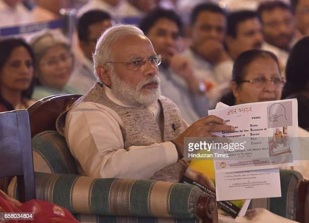 Prime Minister Narendra Modi during the celebration on the occasion of 'Ugadi' according to Hindu Calendar at Venkaiah Naidu's residence on March 26...