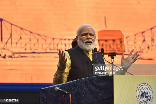 Prime Minister Narendra Modi during the occasion of 150th-anniversary celebration of Kolkata Port Trust, at Netaji Indoor Stadium, on January 12,...
