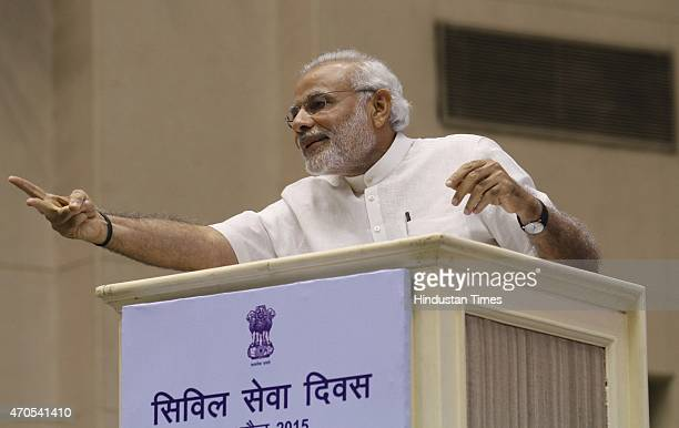 Prime Minister Narendra Modi during the valedictory function of Civil Services Day observed by all Civil Services to rededicate and recommit...