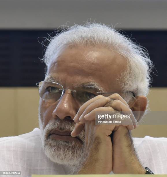Prime Minister Narendra Modi during the Y4D Foundation New India Conclave at Vigyan Bhavan on July 16 2018 in New Delhi India The New India Conclave...