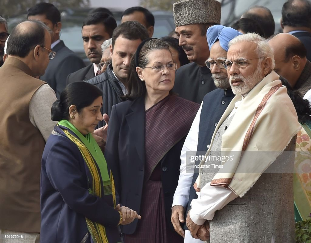 Prime Minister Narendra Modi (R), former Prime Minister Dr. Manmohan Singh (2R), Congress President Sonia Gandhi (2L), Congress President elected Rahul Gandhi and External affair Minister Sushma Swaraj (L) during a remembrance ceremony for the 2001 attack on Parliament at Parliament House on December 13, 2017 in New Delhi , India. On December 13, 2001, parliament was attacked by five terrorists belonging to LeT and JeM. Six Delhi police personnel, two Parliament Security Service personnel and a gardener were killed in attack. About 100 MPs were in the parliament when the terrorists attacked.