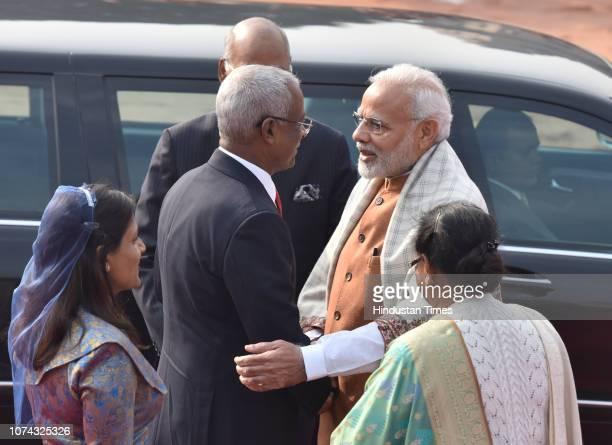 Prime Minister Narendra Modi greets Maldivian President Ibrahim Mohamed Solih as Maldivian First Lady Fazna Ahmed and her counterpart Savita Kovind...