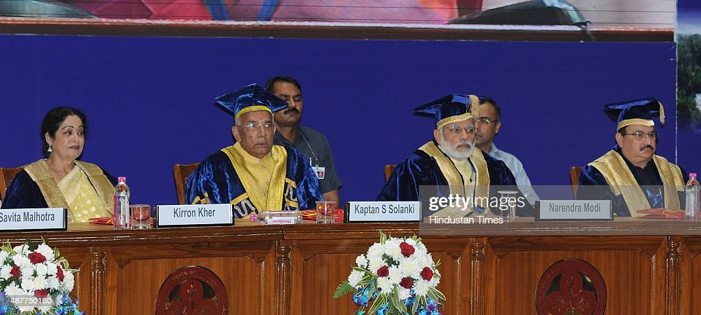 Prime Minister Narendra Modi Haryana Governor Kaptan Singh Solnki MP Kirron Kher and Union Health Minister JP Nadda during the 34th convocation of...