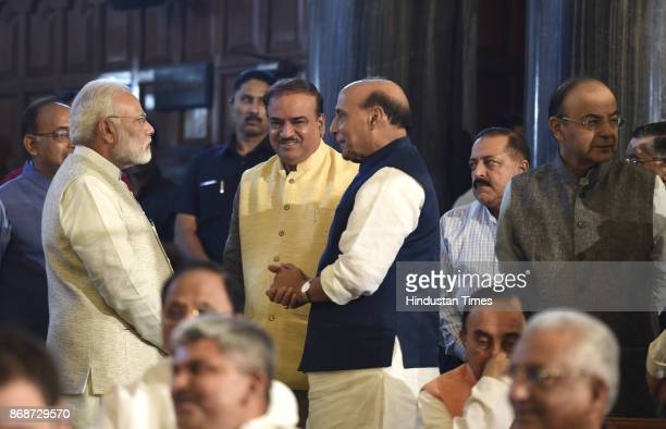 Prime Minister Narendra Modi Home minister Rajnath singh Ananth Kumar Finance Minister Arun Jaitley other leaders during a floral tribute ceremony on...