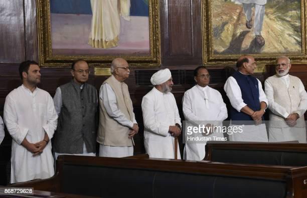 Prime Minister Narendra Modi Home minister Rajnath singh LK Advani Finance Minister Arun Jaitley with Congress Vice President Rahul Gandhi and other...